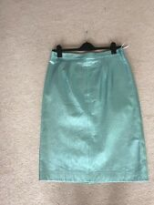 Marks And Spencer Autograph Metallic Aqua Blue Leather Pencil Skirt Sizes 14&16