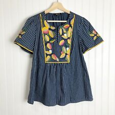 Madewell Blue Embroidered Fable Top Small