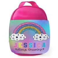 Lunch Bag School Childrens Girls Rainbow Insulated Pink Personalised KS125