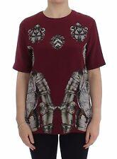 Nuova con Etichetta Dolce & Gabbana Rosso Stampa Camicetta di Seta T-Shirt Top