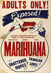 1930's Vintage Marihuana Marijuana Adults Only Movie Propaganda Anti Drug Poster