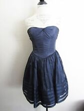 Betsey Johnson~Queen Bee Navy Taffeta Strapless Cocktail Dress~2~EUC  EH