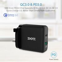 PD3.0 & QC3.0 36W Wall Charger / Type C to USB-C Cable For Wiko View3 Pro