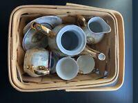 Vintage Authentic astor Tea Set with decorative basket