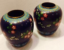 "Antique Cloisonne Vase Pr. Rich Blue W/lotis Flower Detail 7"" Tall 5"" Across"