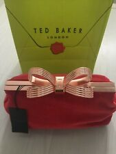 """Ted Baker Ladies Large Red Velvet Clutch Bag Rose Gold """"T"""" Bow RRP £109  New"""