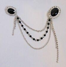 Art Deco style silver/black Cardigan /cloak pin shrug Collar Clip double brooch