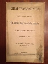 RARE 1875 Richmond VIRGINIA American Cheap Transportation Association Address VA