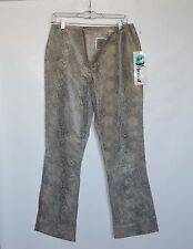 NWT Blucid Genuine Leather Suede Beige Snake Print Womens Dress Pants Size 11