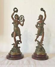 Belle Paire Régule Signé GUILLEMIN Statue Patiné Bronze Art Nouveau Sculpture TB