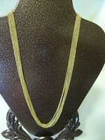 VINTAGE 6 STRAND GOLD TONE CHAIN NECKLACE-SECURE CLASP-BEAUTIFUL