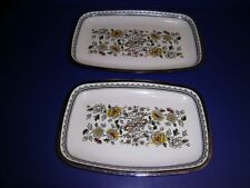 Vintage Enamel Metal Trays Flower Floral design Chrome Deco Trim Different!