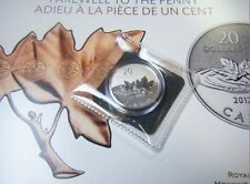 2012 Canada $20 Dollars Farewell to the Penny .9999 Fine Silver coin round maple