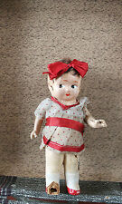 Vintage Composition Original Jointed Antique Doll in Suitcase