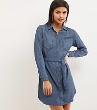 New Look James Shirt Dress Size UK 10 Blue DH077 CC 15