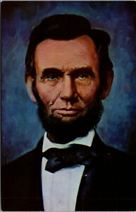 Vtg Abraham Lincoln From Oil Painting At Time Of Gettysburg Address Postcard
