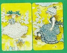 2 VINTAGE PLAYING SWAP CARDS 1970's SARAH KAY GIRLS HOLLYHOCK FLOWERS ALL OVER