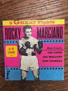 Rocky Marciano 3 Great Fights Louis, Walcott, Cockell Super 8 B/W Sound 8MM SP63