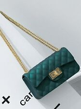 Bolsa rigida mujer bolso de mano mano bandolera cadena como piel verde oro 2282