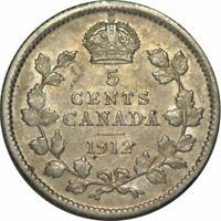 1912 Canada 5 Cents Silver- Very Nice High Grade Circ Collector Coin! - d756qsc2