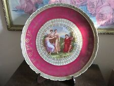 "H N & L  Angelica Kauffman Portrait Charger Plate Red Gold 11.5"" Beehive Mark"