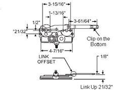 STB Casement Window Operator, Left Hand, Mechanism Only, Dyad, Link Offset Up