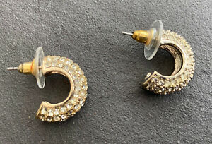 Chunky half-ring silver tone diamonte earrings (pierced) E011