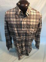 Mens BULLOCK & JONES VIYELLA LS BF  Flannel Shirt L Large Cotton Blend Grayplaid