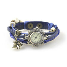 Retro Girls Bells Beads Braided Bracelet Leather Quartz Wrist Watch