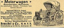 MOTORE-Carro-BARCHE-biciclette di Berlino maschinenfarbr storica la pubblicità di 1900