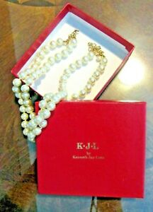 "KJL KENNETH JAY LANE Heavy Double Strand Faux Glass Pearl Necklace 20"" Orig. Box"