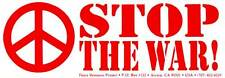 Stop The War! - Peace Sign / Symbol Bumper Sticker / Decal