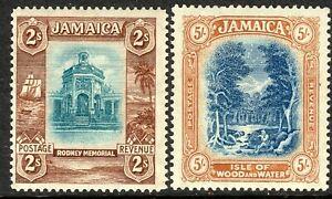 Jamaica 1921 blue/brown 2/- bl/pale-dull-orange 5/- multi-script mint SG103/105a
