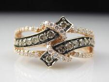 Diamond Ring 14K Rose Gold LeVian Crossover Chocolate Vanilla Fine Jewelry Sz 8