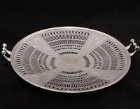 Pierced Serving Tray With Handles 10 Inch Vintage Electroplate Nickel Silver USA