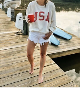 Free People X Retro Brand USA Crew Vintage Inspired Graphic Ivory Red M NWT