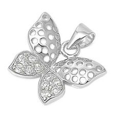 GREAT GIFT! Russian CZ Butterfly .925 Sterling Silver Pendant