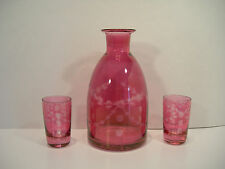 Vintage Etched Glass Decanter & 2 Glasses Pink Cranberry Flowers