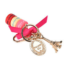 rose Macaron Eiffel Tower Pendants Bag Charm Purse Keychain Keyring Keyfob Gifts
