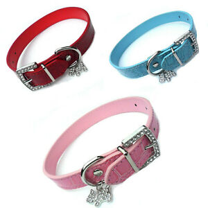 "SALE Mock Croc Dog Collars Pink Blue Red Pet Puppy, 12-18"", Crystal Diamante New"
