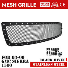 Rivet Mesh Grille For 2003-2006 GMC Sierra 1500 Black Stainless Steel Insert