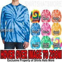 Mens LONG SLEEVE Tie Dye T-Shirt Tye Died Tee S-XL 2XL, 3XL, 4XL NEW
