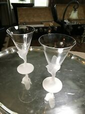 Pair Sasaki Wings Clear Taper Crystal Glasses Frosted Bird / Dove Wine Glass