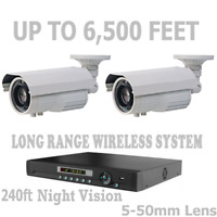Long Range Wireless Security Cameras Video Up To 6,500 Feet CCTV System + DVR