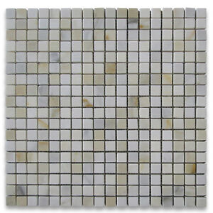 """G22XH Calacatta Gold Marble 5/8""""x5/8"""" Square Mosaic Tile Honed Wall Floor Tile"""