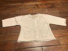 Gilet coton  6 - 9 mois DPAM, garçon, couleur crème, en coton, comme neuf