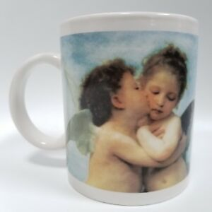 Sweet Loving Kissing Hugging Cherubs On White Ceramic Coffee Mug Tea Cup 11 Oz