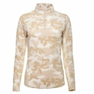 NWT IBKUL Icikuls CAMO Natural Cream Long Sleeve Mock Golf Shirt size XXL