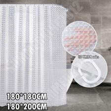 3D PEVA Diamond Shower Curtain Clear Waterproof Plastic Water Cube Thicker&Hooks