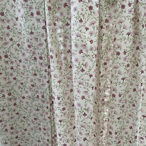 """Vintage Pink Ditsy Print Pencil Pleat Shabby Chic Curtains.Width 45"""" Length 68"""""""